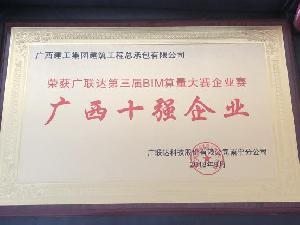 第三届BIM算量大赛企业赛广西十强企业